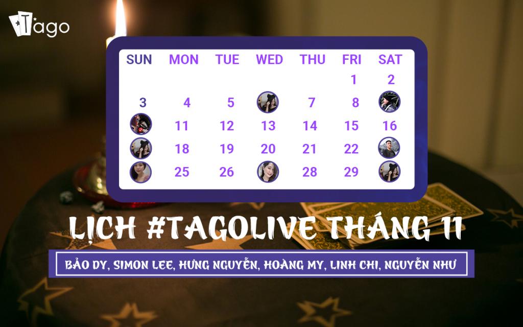 TAGO Lịch Livestream Tháng 11